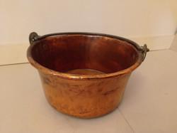 Antik konyhai eszköz vörösréz vörös réz bogrács vas akasztó füllel   4225