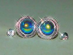 Titánium szivárvány -Láng Aura kvarc Gyöngy Tibeti Ezüst Fülbevaló