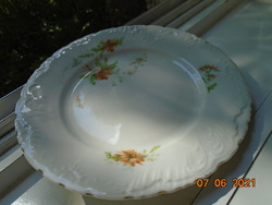 Antik Csipkézett,gazdag dombormintás,virágmintás Elbogen tányér 19,5 cm