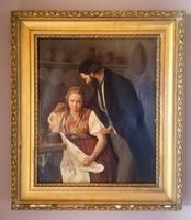 1 Ft-ról, minimálár nincs! Antik, jelzett olajfestmény! 1859-ből, európai festőművész!