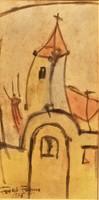 Frank Frigyes (1890 - 1976) Templom torony c. festménye EREDETI GARANCIÁVAL
