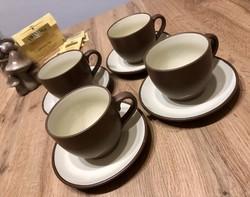 Csokoládébarna és krémszínű 4 személyes teás készlet