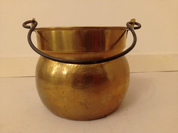 Antik nagy sárgaréz kaspó edény vas füllel  4242