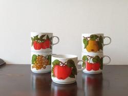 Gyümölcsöskert Alföldi porcelán bögre pohár készlet retro eper cseresznye alma meggy körte mintával
