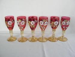 Színes üveg likőrös pohár pohárkészlet