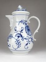 1E549 Antik Meisseni porcelán kék fehér hagymamintás teáskancsó 23.5 cm