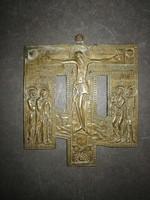 Nagyméretű pravoszláv Jézust ábrázoló réz kereszt - EP