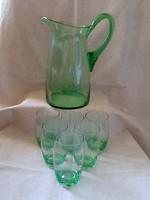 Fújt csiszolt zöld üveg kancsó + 11 db fújt pohár