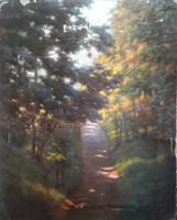 KISS FARKAS IMRE: Erdei utacska (olaj, vászon 40x50) varázslatos természeti tájkép, napfényes, derűs