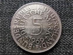 Németország NSZK (1949-1990) .625 ezüst 5 Márka 1969 F (id23013)