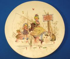 """Antik, francia Sarreguemines fajansz tányér """"HORGÁSZNI TILOS!"""" (1800-as évek vége)"""