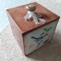 Kék madaras vintage fa doboz