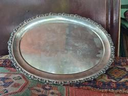 Antik Magyar ezüst tálca 1867 utáni 800 as. 920 g.