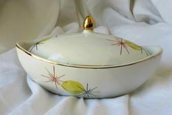 Retró porcelán bonbonier, cukortartó,  13,8 x 7,8 x 7,5 cm.