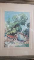 SZILI TÖRÖK DEZSŐ: Házikók lombos fával, 1951 (akvarell kerettel 47x58 cm)