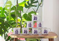 Zsolnay gyermek csészék - árnyképes gyerek bögrék - étkészlet, retro porcelán reggeliző szett