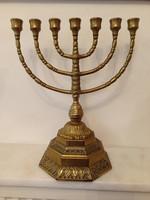 Antik patinás nagy méretű réz zsidó gyertyatartó menora menóra 7 ágú gyertya tartó  4271