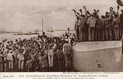 Haditengerész képesalap, hajó, integető katonák