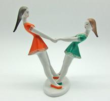 B766 Hollóházi táncoló lányok - hibátlan, szép állapotban