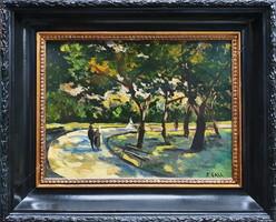 Gáll Ferenc: Séta a parkban, olajfestmény
