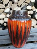 Retro West Germany barna- narancs kerámia váza