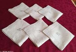 6 db antik, hímzett monogramos, azsúrozott  szalvéta, 35 x 33 cm