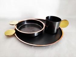 Retro Képcsarnoki ötvös iparművész asztali kínáló szett. Iparművészeti Vállalat