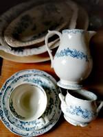 Cauldon fajansz, csésze, kiöntő, cukortartó