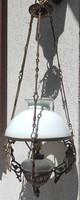 Lüszter csillàr petróleum lámpa-villanyosítva,tejüveg búra.Szecesszió,