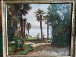 Antik szignált olajfestmény vásznon