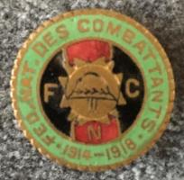 Az I. világháború belga Hadviseltek Nemzeti Szövetségének jelvénye