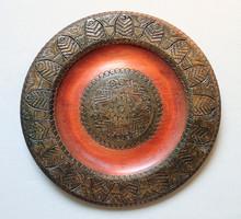 Régi rézveretes rézbetétes rézberakásos réz veretes betétes berakásos fa tányér tál fatál fatányér