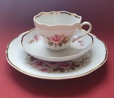 Triptis német porcelán reggeliző szett 3 részes (csésze, csészealj, kistányér)