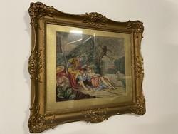 Bibliai történet , ábrázolás - fali szentkép keretben - 75X70CM