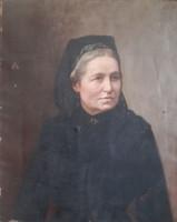 """Idős nő portréja -  """"Brust"""" jelzés, XIX. század, antik (olaj-vászon 55x69) arckép"""