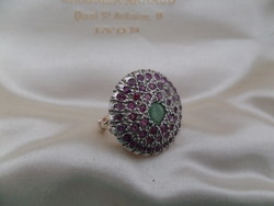 Antik ezüst - arany gyűrű rubinokkal és smaragddal
