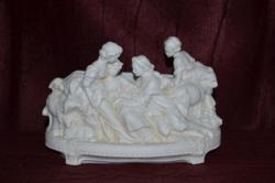 Régi antik német Hertwig biszkvit porcelán asztaldísz