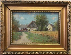 Harencz József:Falusi ház,lovakkal,olaj-karton