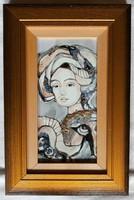 """Fehér Margit """"Titokzatos szépség II."""" tűzzománc keretben, ingyen posta"""
