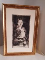 Szász Endre Anya gyermekével című metszet