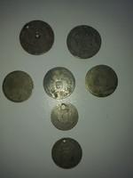 Kopott ezüst érmék a képek alapján 2 db 1/4 fl. 3db 20 kr 1db 6 kr 1db 10 kr