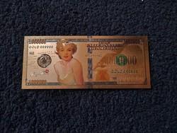 Új - színes+aranyozott, plasztik Marilyn Monroe 1000000 $ !