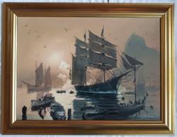 """Bánfalvy Ákos """"Alkony az öbölben"""" c. olajfestmény ingyen postával"""
