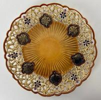 Teljes hagyaték aukción! Antik zsolnay áttört dísztányér 1880 körüli Gyönyörű 1 Ft-ról!