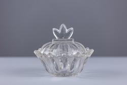 Üveg asztalközép, kínáló, cukortartó, bonbonier, régi.