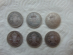 Anglia 6 darab ezüst 2 shilling LOT !
