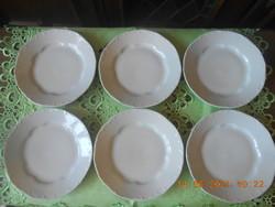 Zsolnay barokk, fehér lapos tányér 6 db