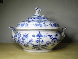 Meisseni porcelán hagymamintás nagy leveses tál 1850 körül hibátlan állapotban!