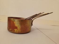 Antik 5 db sárgaréz nyeles konyha eszköz edény vastag vörösréz lábos 4167