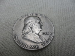 Ezüst Franklin Usa half fél dollár 1953